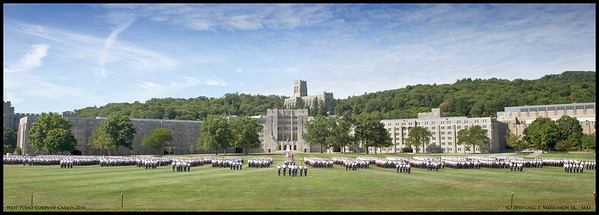 """West Point class of 2014 plebes march with the Corps of Cadets on The Plain of the US Military Academy at West Point during """"A - Day"""" Acceptance Day of the new class into the Corps of Cadets.  Newly appointed Superintendent, Lt, General, David Huntoon reviews the  passing cadets."""